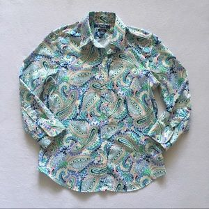 Chaps No Iron Paisley Print 3/4 Sleeve Shirt S